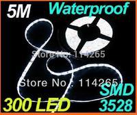 5x5m 300LED 3528 SMD waterproof 12V flexible light 60led/m LED strip white/warm white/blue/green/red/yellow flash lamp