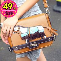 free shipping 2012 women's handbag color block fashion messenger bag vintage bag
