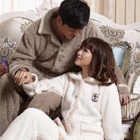Lovers sleepwear autumn and winter male lounge male women's Women solid color winter thickening coral fleece sleep set