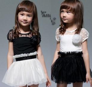 New Kids Toddlers Girls White Black Flower Princess Tutu Mini Dress