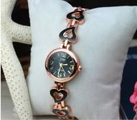 2013 korea  women and ladies fashion designer top brand bracelet Heart-shaped black watch wristwatch luxury watch free shipping