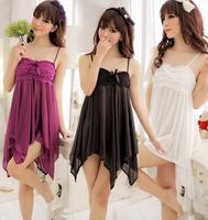 Women's princess lace faux silk temptation spaghetti strap nightgown fashion sexy translucent sleepwear