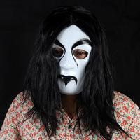FREE SHIPPING!!!Black hair and white flour devil mask,PVC Hard material