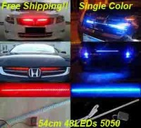 "22.4"" 48 LED Knight Rider Light  Knight LED grill Light  chasing breath brake turn function white blue red 54CM 5050 IR control"