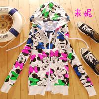 Free Shipping With a hood MICKEY pattern cardigan sweatshirt short jacket young girl spring women's spring cartoon