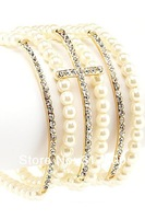 2013 New Cream Pearl Beaded Stretch Rhinestone Multi Cross Bracelet