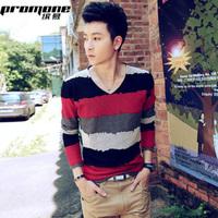 Free Shipping 2012 autumn fashionable casual stripe loose V-neck male long-sleeve T-shirt YISHION basic shirt