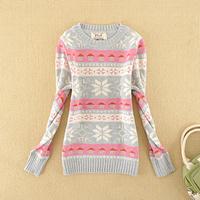 Free Shipping Juniors clothing school wear 2013 spring casual jacquard basic shirt sweater