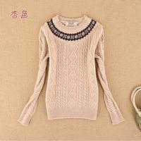 Free Shipping Juniors clothing school wear 12 autumn and winter slim o-neck basic shirt sweater