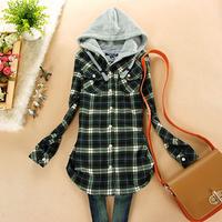 Free Shipping Juniors clothing 2015 spring 100% cotton fleece plaid long design with a hood shirt