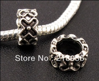 Wholesale Fashion Lots 100 Pcs Tibetan Silver Nice Spacers Big Hole Beads Fit Charm Bracelet A270 DIY Metal Jewelry
