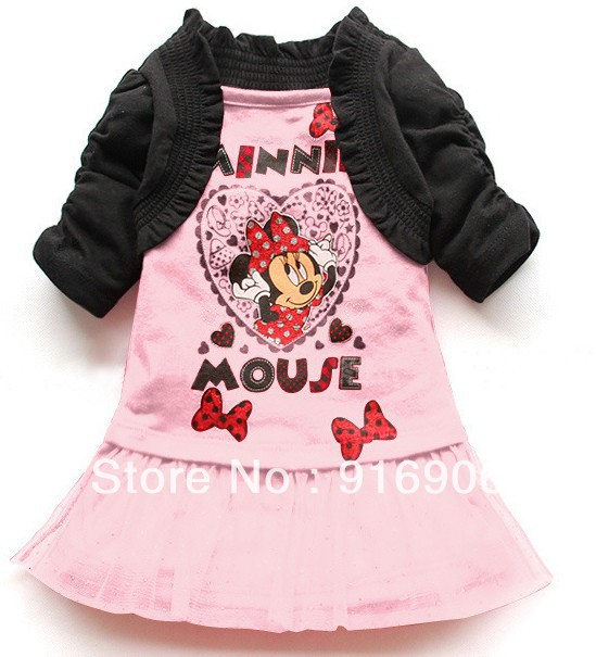 retail 1 pcs 2013 fashion kids girl cartoon Minnie print lace dress / black cape,chiffon lace, red pink cute dress(China (Mainland))