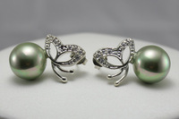 free shipping,gift  green  10mm shell pearl   Natural Pearl Earring more color to choose butterfly earring