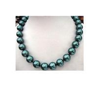 "18""10-11mm Tahitian AAA+ black-green shell Pearl Necklace 14K"