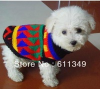 Free Shipping Pet Products Puppy Dog Winter Clothing Cat Clothes colorful Coats Knitted Sweaters Size 12/Large