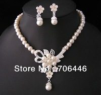 Silver Plated Bridal Cream pearl and Rhinestone crystal Bridal necklace earrings Jewelry set