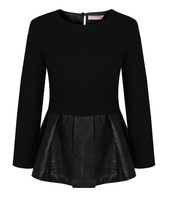 Tl fashion ! vintage tweed fabric elegant vintage woolen patchwork leather top