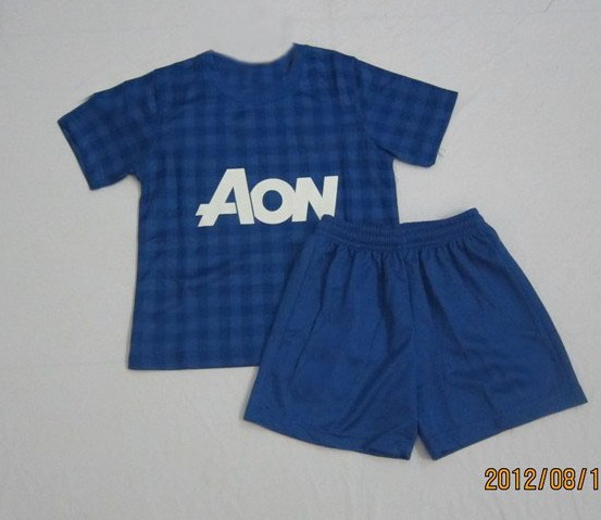 Youth kids children's EPL soccer uniforms english premier league Old Trafford goalkeeper blue jersey and short football kits AON(China (Mainland))