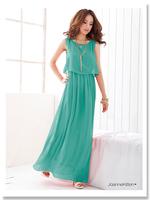 2014 New Women Bohenmia Pleated Wave Lace Strap Princess Chiffon long Maxi dress Four Colors L Xl XXL Floor -length Long Dress