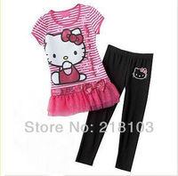 Free Shipping!Cartoon Hello Kitty clothing set , Striped T-shirt+legging 2pcs set,Girl Sweet suits,fashion summer wear