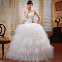 2013 Luxury Feather Wedding Dress  Tube Top Dream Train Wedding Dress