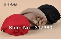 6pcs 2014 Mix Colors Pretty Womens Wool Berets Hats Ladies Flower Winter Caps Spring Fall Freeshipping Wholesale Black Red Camel