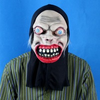 FREE SHIPPING!!!Black cloth red face devil mask with hair