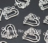 Wholesale Fashion Lot 160pc Tibetan Silver Rose Hollow Heart Charm Pendants DIY Metal Jewelry 20x19mm A308