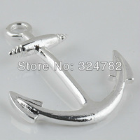 26x34mm silver Curved SideWays Smooth Metal Anchor Connector Charm Beads making Bracelet jewelry findings 25pcs
