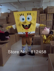 SpongeBob SquarePants Mascot Costume Adult Dinosaur Halloween Costumes Fancy Dress Suit Birthday Party Free Shipping(China (Mainland))