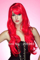 DHL Free shipping Wholesale Fashion Party Wigs 100% Synthetic Funny Wigs 12pcs/lot,Soft Waves Long Wig with Band Red 0188
