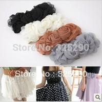 2014 new Fashion Chiffon Flower Double Rose flower Elastic Stretch Waist Belt for women vintage Lady Belt Waistband