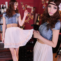 Free Shipping  fashion vintage denim gauze chiffon patchwork lace embroidered one-piece dress hot-selling