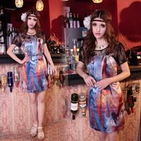Free Shipping  o-neck short-sleeve dress gorgeous mulberry silk chiffon silks and satins patchwork full dress abstract skirt