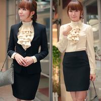 Free Shipping Hot-selling autumn women's black professional set dresses pants work wear suit skirt piece set
