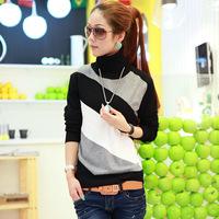 Free Shipping  women's basic sweater female slim new arrival long-sleeve stripe winter turtleneck basic shirt