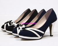 Fashion PU Leather women shoes Square Heels Shoes Women Shallow Mouth Shoes dress girls shoes women pumps  Black&Blue