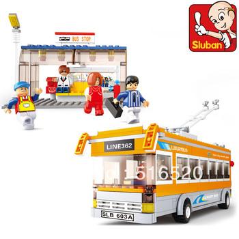 Sluban City Bus Trolley Buses B0332 Building Block Sets 457pcs Educational DIY Jigsaw Construction Bricks toys for children