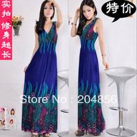free shipping ladies' dress fashion dress Ultra long fashion beach dress vintage dresses ultra long skirt
