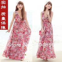 free shipping ladies' dress evening beach dress chiffon one-piece fashion beach dress long skirt