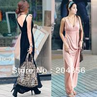 free shipping ladies' dress V-neck racerback solid color long design one-piece fashion dress bohemian fashion long skirt