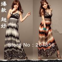 free shipping ladies' dress fashion dress Halter-neck slim ultra long one-piece dress bohemia fashion one-piece skirt