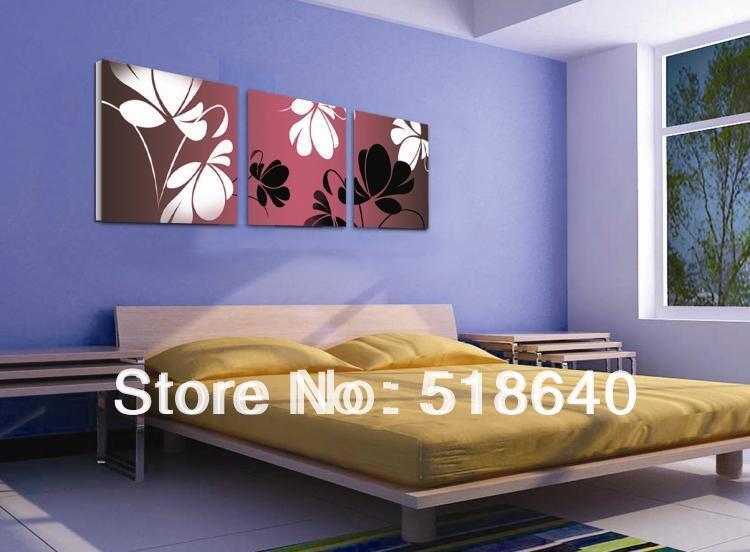 3 panel modern art grace landscape canvas painting flowers on wall ...