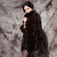 Mink fur coat 2012 female medium-long marten overcoat 31