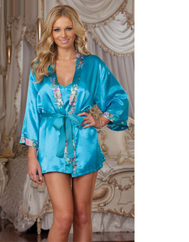 sexy women's lingerie light blue satin robe babydoll chemise pedded hanger sleepwear night gown with thong 2335