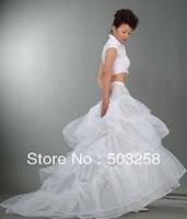 P3 three hoops white long train wedding petticoat