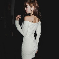 Free Shipping slash neck jacquard zipper cardigan sexy dresses discount winter club wear short tight white dress FD00148(China (Mainland))