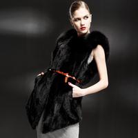 Leather vest Women 2012 mink fur black mink overcoat medium-long outerwear
