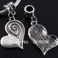 Wholesale Fashion  130pcs Tibetan Silver Heart Dangles Charms Beads Fit European Bracelet Pendant DIY Metal Jewelry 36*21mm A459