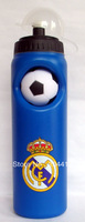 Real Madrid FC Soccer Water Drinks Bottle With Non-slip Football Ball Blue